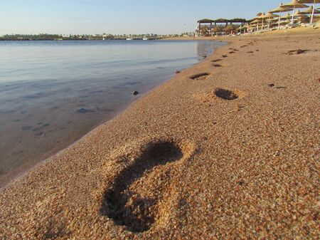Traces of a man on a yellow sandy beach, the azure ocean shore, in the five-star hotel on the Red Sea.