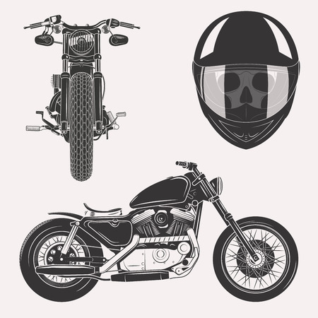 Vintage motorcycle set with skull in motorbike helmet front profile isolated on white background