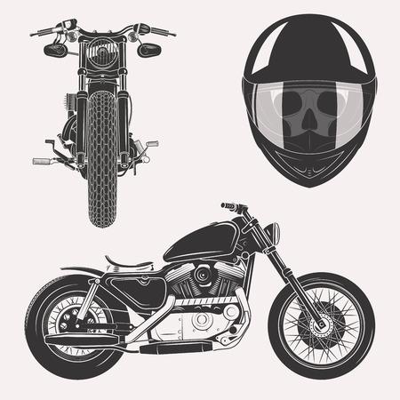 motor race: Vintage motorfiets set met schedel in motorhelm voorkant profiel op een witte achtergrond Stock Illustratie