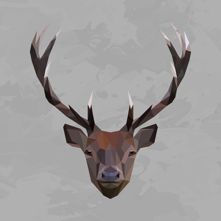 stag horn: Deer colored head geometric lines isolated on grey background vintage design element