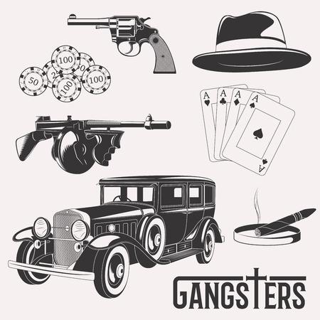 cigarro: Conjunto aislado gángster sobre fondo blanco