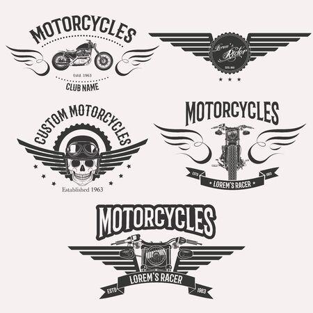 motosport: Vintage custom motorcycle racer stars set isolated on white background Illustration