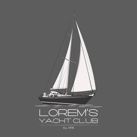 bateau voile: Yacht Club �tiquette de badge sur fond gris