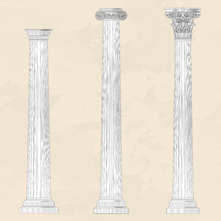 doric: Classical ellinic architectural order set on beige marble background