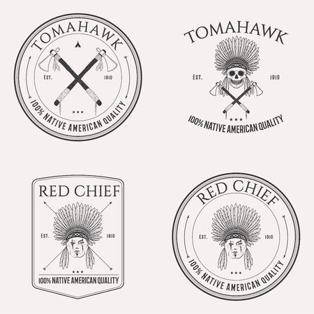 ネイティブ アメリカン分離ロゴ白い背景の上のエンブレム、バッジおよびデザイン要素の設定  イラスト・ベクター素材