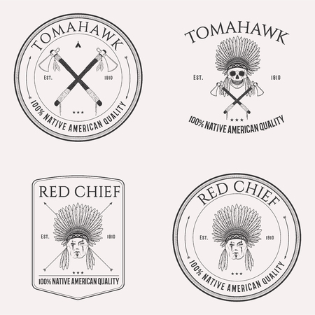 Native american isolated logo set emblems, badges and design elements on white background