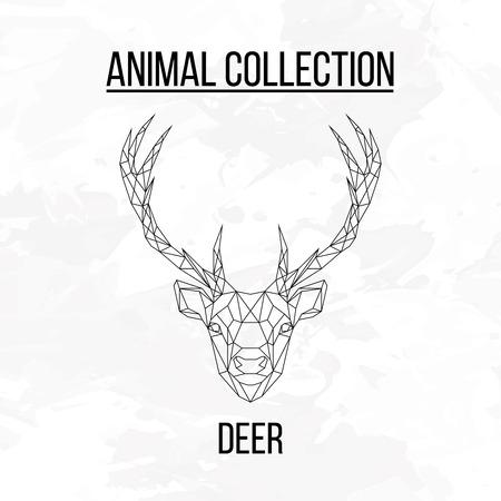 Deer head geometric lines silhouette isolated on white background vintage design element Ilustração