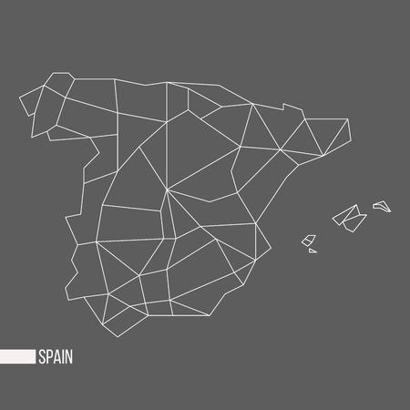 bounded: Abstract polygonal geometric Spain, Balearic islands, Ibiza, Mallorca, Menorca, Formentera minimalistic map isolated on grey background