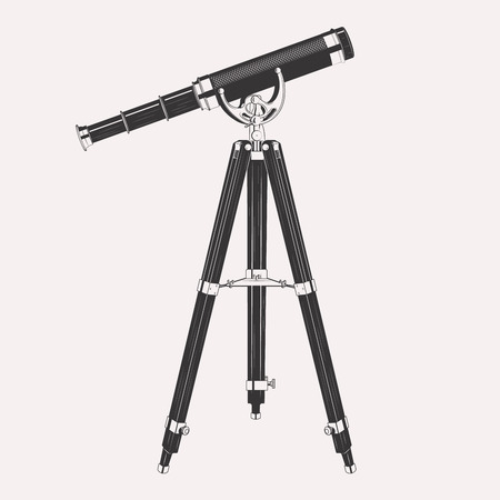 Telescope on tripod illustration isolated on white background. Retro vintage spyglass telescope