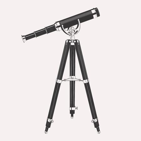 fernrohr: Teleskop auf Stativ Illustration isoliert auf weißem Hintergrund. Retro vintage Spyglass Teleskop