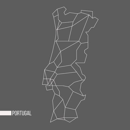 bounded: Abstract polygonal geometric Portugal minimalisticmap isolated on grey background