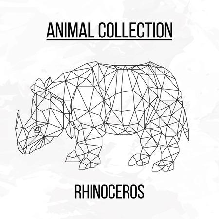 rhino: Rhinoceros geometric lines silhouette isolated on white background vintage design element Illustration