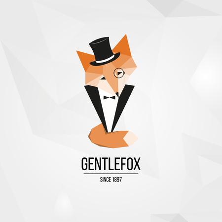 gentle: Geometric isolated gentle fox in suit logotype background