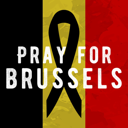 victims: Pray for brussels poster Tribute to victims of terrorism attack in Brussels airport metro, march 22, 2016.