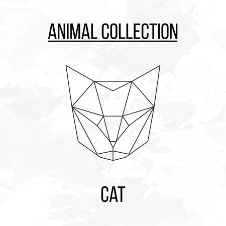 Geometric animal cat head background Vetores