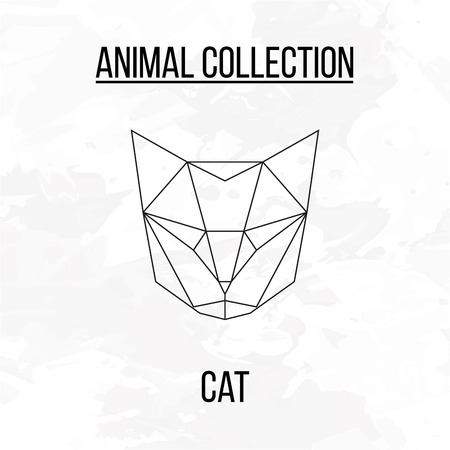 Geometric animal cat head background Illustration
