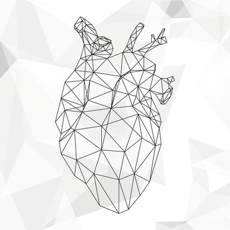 bosom: Geometric heart isolated on white background vintage design element