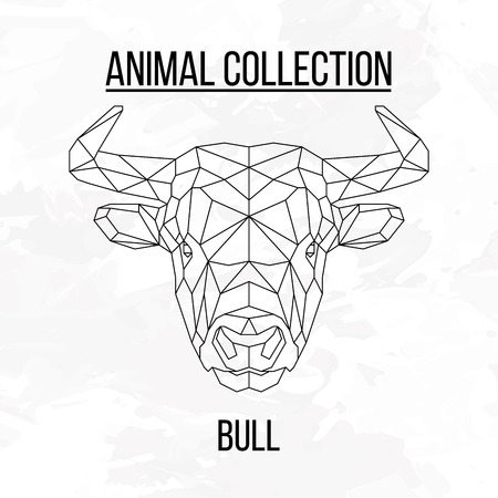 Bull head geometric lines silhouette isolated on white background vintage design element