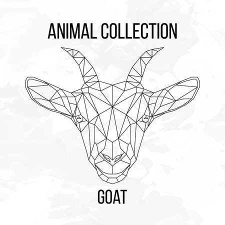 goat head: Goat head geometric lines silhouette isolated on white background vintage design element