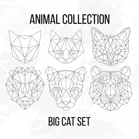 puma cat: Set of geometric cat tiger lion puma head isolated on white background vintage design element illustration Illustration