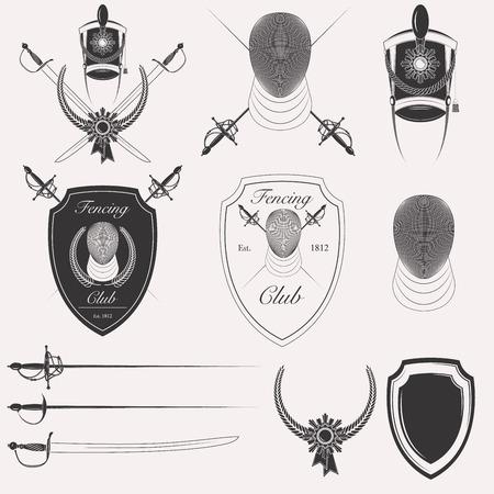 olympic game: Fencing club vintage retro logotype badge emblem banner objects isolated on white background Illustration