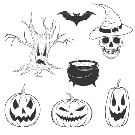 graphic: Monochrome graphic halloween object set
