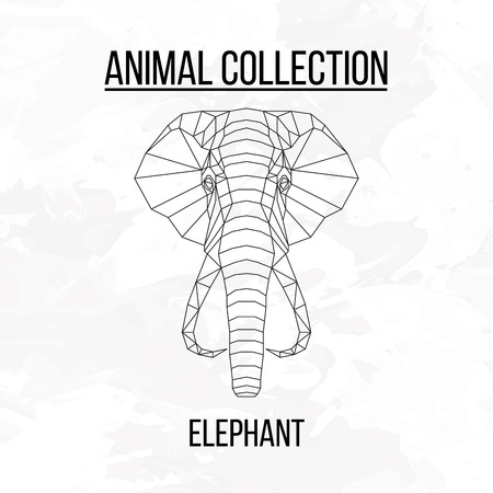 mammoth: Elephant head geometric lines silhouette isolated on white background vintage design element