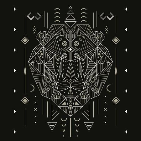 Resumen león ornamento ilustración vectorial étnica, tribal, tatuaje, animal, arte, plantilla, diseño aislado sobre fondo negro línea de arte