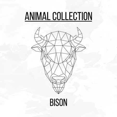 Bison head geometric lines silhouette isolated on white background vintage design element