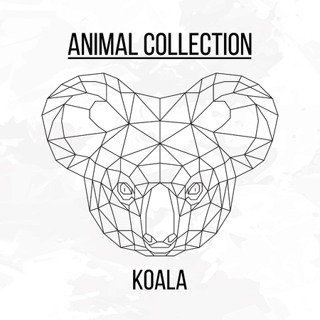 Koala head geometric lines silhouette isolated on white background vintage vector design element