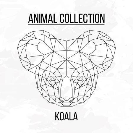 Koala head geometric lines silhouette isolated on white background vintage vector design element