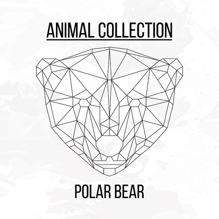 Polar bear head geometric lines silhouette isolated on white background vintage design element