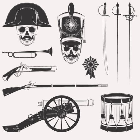 regiment: Set of vintage Napoleon Empire French Russian war uniform, equipment, weapons, horn, drum, cannon, sword, rapier, medal, skull in hats isolated on white background