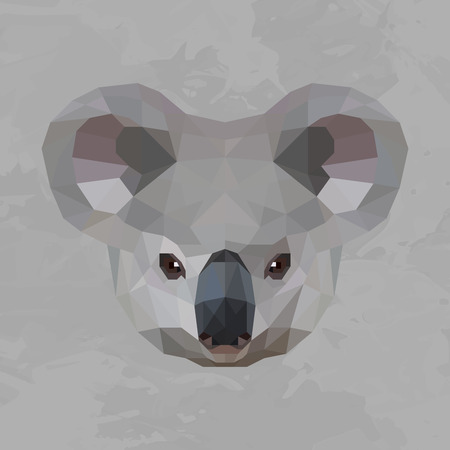 Koala colored head geometric lines silhouette isolated on grey background vintage design element