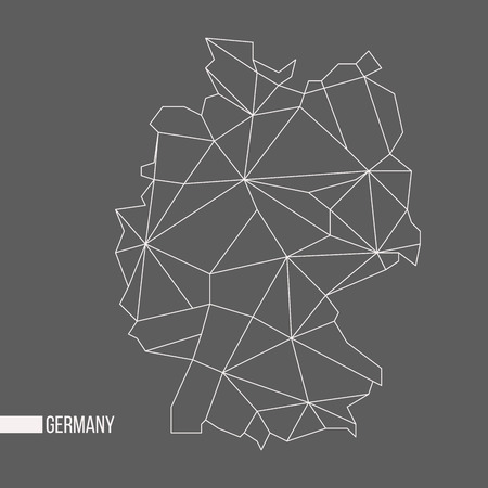 bounded: Abstract polygonal geometric Germany minimalistic map isolated on grey background Illustration