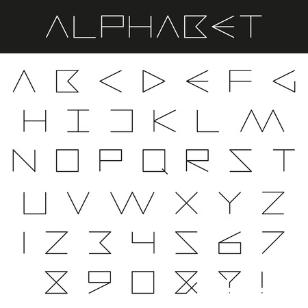 punctuation marks: Minimal alphabet vector font. Type letters, numbers and punctuation marks on black and white background Illustration