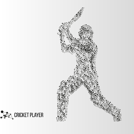 batsman: Abstract geometric molecule polygonal batsman cricket player silhouette isolated on gradient background