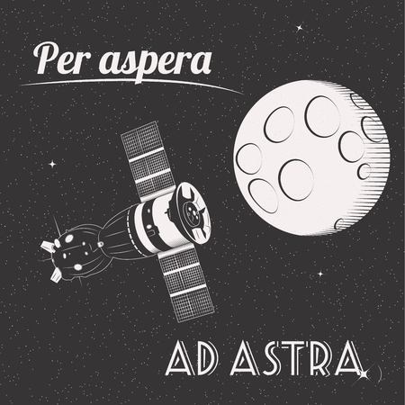 hardships: Per aspera ad astra through hardships to the stars t-shirt print moon and satellite in space