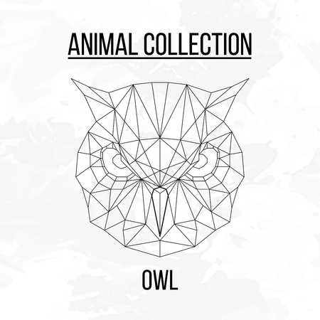 Owl head geometric lines silhouette isolated on white background vintage design element Illustration