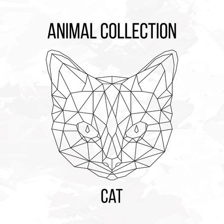 Geometric animal cat head background