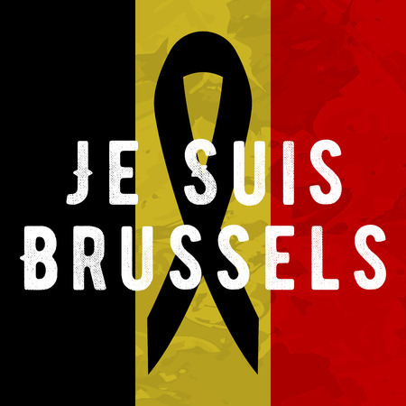 victims: Je suis brussels i am brussels poster Tribute to victims of terrorism attack in Brussels airport metro, march 22, 2016.