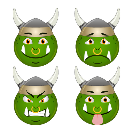 nose ring: Orc smiley icon faces emotions sad angry sticking out tongue set, isolated on white background