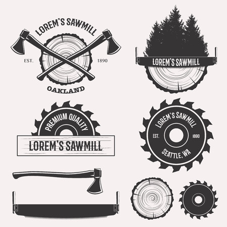 lumberjack: Vintage sawmill logo set labels badges and design elements isolated on white background