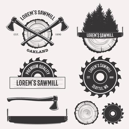 Vintage segheria logo set etichette scudetti e elementi di progettazione isolati su sfondo bianco