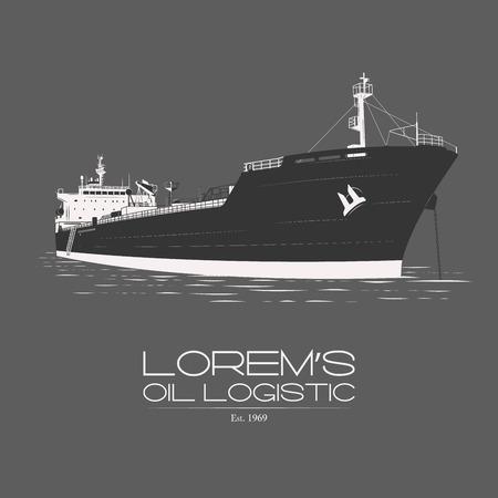 bulk carrier: Lorems mineral oil petroleum naphtha logistic logotype badge label isolated on grey background vintage illustration