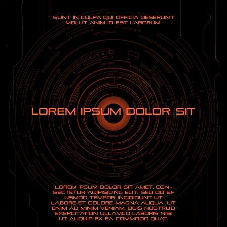 digital eye: Digital eye cosmic circled futuristic background flyer template with text. Vector illustration. Eps 10