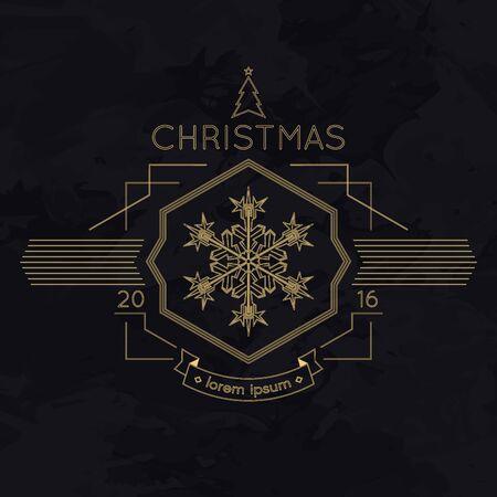 tree line: Snowflake winter christmas golden on black background Illustration
