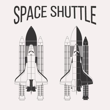 Amerikaanse space shuttle ontwerp geïsoleerd op een witte achtergrond Vector Illustratie