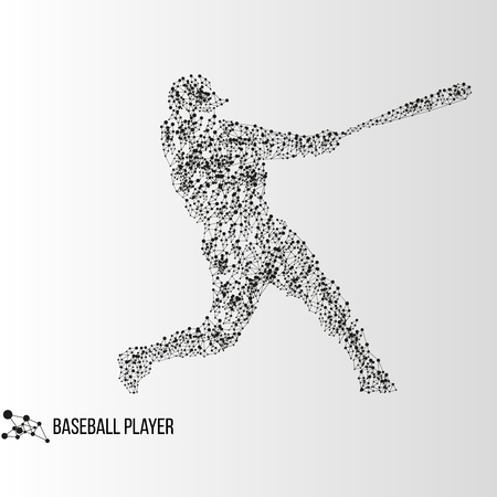 innings: Abstract geometric molecule polygonal batter baseball player silhouette isolated on gradient background