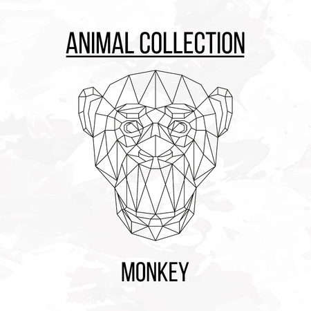 Monkey head geometric lines silhouette isolated on white background vintage design element